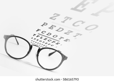 eye glasses with eye chart exam,eyesight test on white background