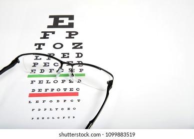 Eye glasses on eyesight test chart background close up.