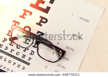 Eye glasses on eyesight test chart background close up - vision check  concept