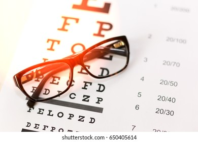 Eye glasses on table of check of vision background close up
