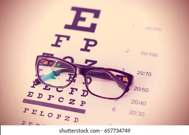 Eye glasses on table of check of vision background close up toned
