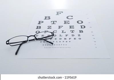 Eye glasses on a test chart