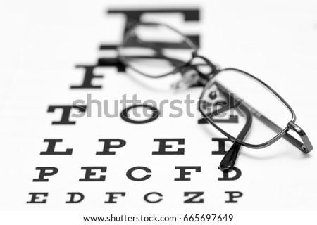 Eye Glasses On Top Eye Chart Stock Photo Edit Now 665697649