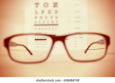 Eye glasses on wooden table with checking vision table background