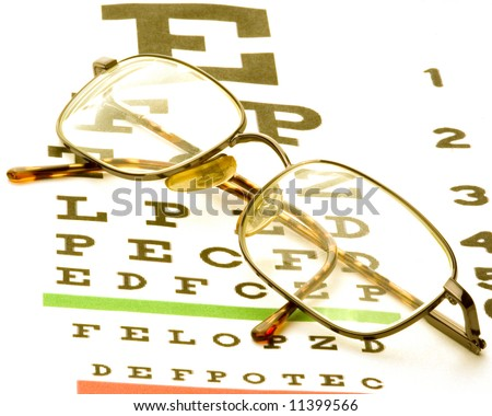 61cb84cadd Eye Glasses Sitting On Eye Chart Stock Photo (Edit Now) 11399566 ...