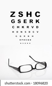 Eye glasses with test chart isolated with reflection on white. Ophthalmology    concept