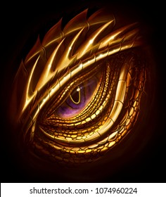 Eye of golden dragon. Digital painting.
