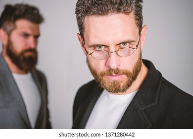 Eye health and sight. Optics and vision concept. Smart glance. Accessory for smart appearance. Wearing glasses may really mean you are smarter. Man handsome bearded mature guy wear eyeglasses.