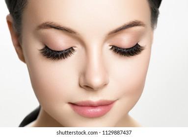 Eye lashes, lash extension woman  lashes close up macro