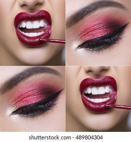 Eye and lip makeup collage