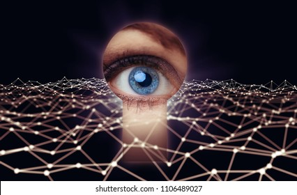 Eye looking thorough a keyhole. Network security concept.
