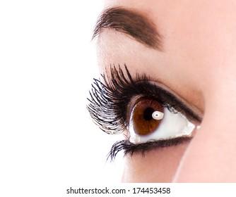 Eye make up with black mascara