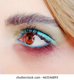Eye makeup eyeshadow, close up of smokey style