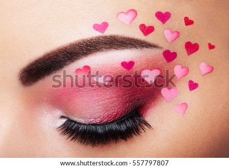 Eye Makeup Girl Heart Valentines Day Stock Photo Edit Now