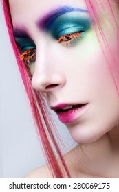 Eye Makeup. Holiday Makeup detail. False Lashes
