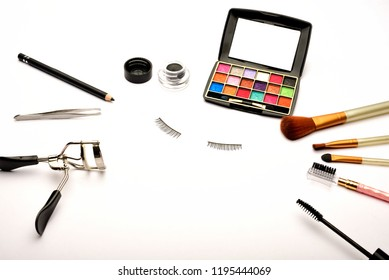 Eye makeup equipment's isolated on white background.