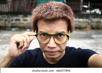 The eye of man in Asia and Glasses accessories personality to look good for all ages.in-Thailand.