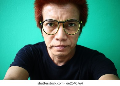 The eye of man in Asia and Glasses accessories personality to look good for all ages.in-Thailand.Male fashion hair dyes