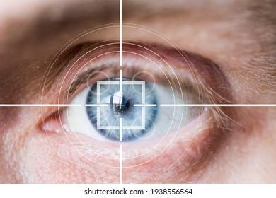 Eye monitoring and scanning. Biometric scan of male eye close up.