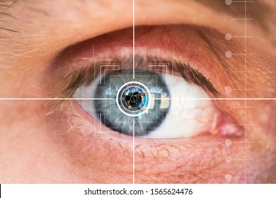 Eye monitoring and treatment in healthcare. Biometric scan of male eye closeup.