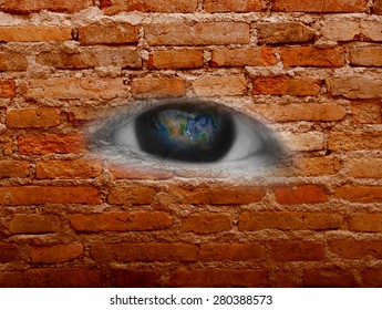 eye on block wall, including elements furnished by NASA