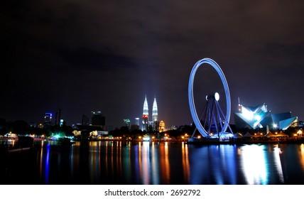 Eye on Malaysia - Ferris Wheel in Kuala Lumpur at night scenery