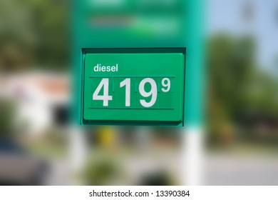 Eye Popping Diesel Fuel Gas Price Sign was captured during a period of record setting gas prices when the price of a barrel of oil was setting new levels.