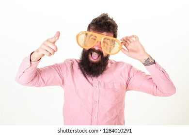 Eye protection sunglasses summer accessory. Hipster wear shutter shades extremely big sunglasses. Man bearded guy wear giant louvered sunglasses. Sunglasses vacation attribute and stylish accessory.