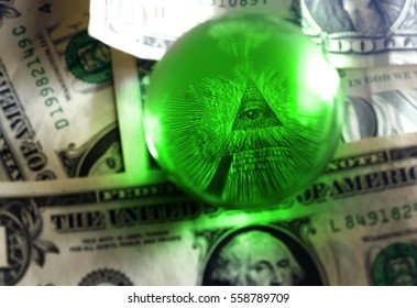 Eye of Providence all-seeing eye from US one dollar bill under glass globe, illuminati symbol