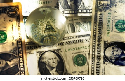 Eye of Providence all-seeing eye from US one dollar bill under glass globe, illuminati symbol in sepia tones