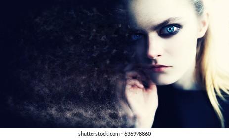 Eye robot girl portrait Photo processing Techno woman in futuristic concept