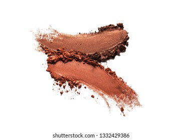 Eye shadow or bronzer brown nude smudge white isolated background