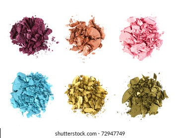 eye shadow crushed samples isolated on white