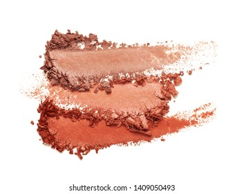 Eye shadow glitter shimmer red brown multi colored texture background white isolated