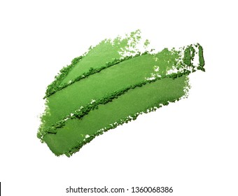 Eye shadow green crushed powder smudged isolated on white