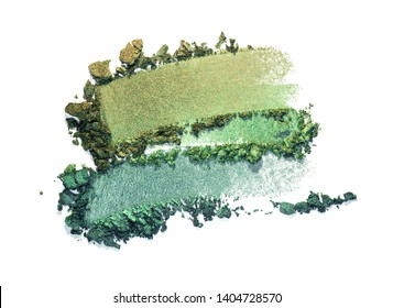 Eye shadow green holographic shimmer  multi colored texture background white isolated