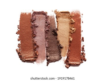 Eye shadow nude shimmering matte multi colored yellow golden brown nude palette texture background white isolated