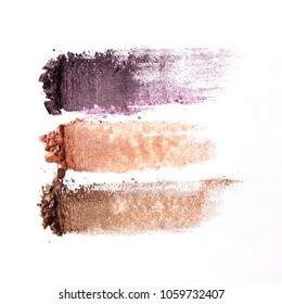 eye shadow on a white background. Smears from the eyes. beautiful eye shadow. minimalism. Fashionable colors of eye shadows.