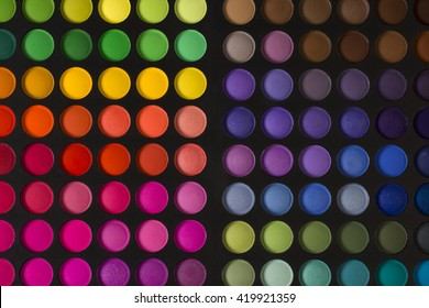 Eye shadow palette with different beautiful colors.