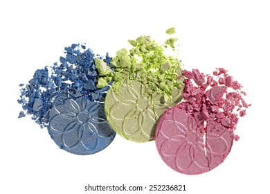 Eye shadow samples crushed on White background