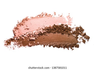 Eye shadow shimmering matte multycolored peach coral brown texture background white isolated