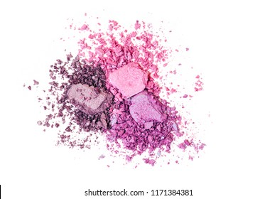 Eye shadow texture, pink, purple and ultraviolet colors, cracked background, isolated on white