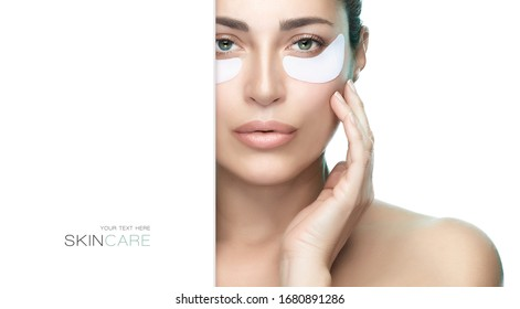 Eye skin care concept. Spa woman with under eye patches, beauty model face with perfect clean skin. Anti-aging eye mask, Eye mask rejuvenation. White background with white copy space banner.