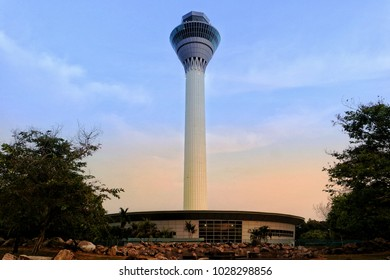 Eye in the sky.  Kuala Lumpur Inyernational Airport,  Malaysia,  19th February 2018. Air. Traffic Control Tower at the airport