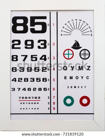Eye Snellen Chart Numbers Letters Stock Photo Edit Now 731839120