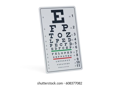 Eye Test Chart, 3D rendering isolated on white background
