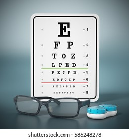 Eye test chart, eyeglasses and contact lens box. 3D illustration.
