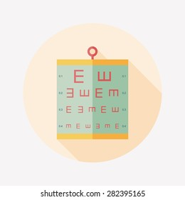 eye test chart flat icon with long shadow