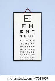 eye test chart - white optometry chart on the blue wall