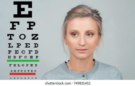 Eye test. Eyesight vision exam chart. Woman check eyesight.